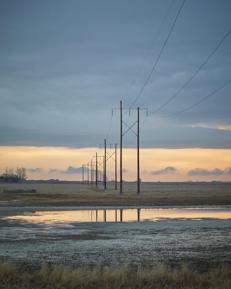 Hydro lines near Elstow, Saskatchewan