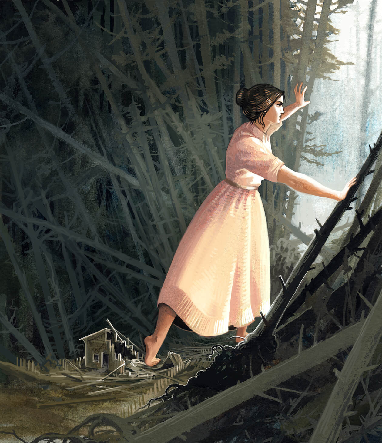 Illustration of a Woman Walking Through Forest with Determination