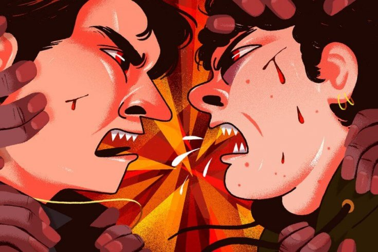Illustration of Two Men Yelling at Each Other