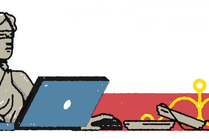 Illustration of Lady Justice Using a Laptop