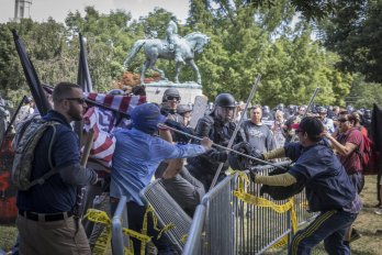 White Nationalists and Antifa clashing in charlottesville virginia
