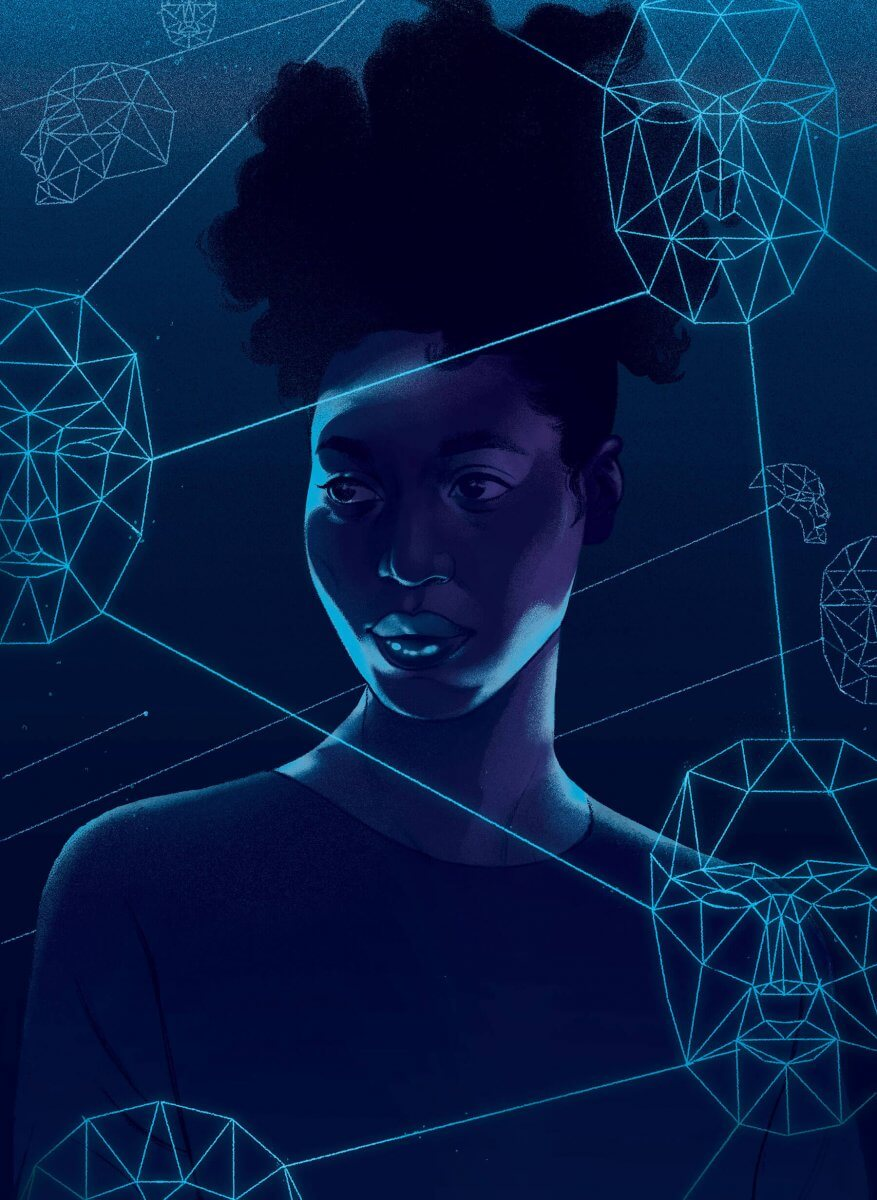 Illustration of a Black Woman Surrounded by Face-Shaped Data Structures