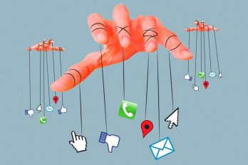Illustration of Social Media Icons Tied to a Puppet-master Hand