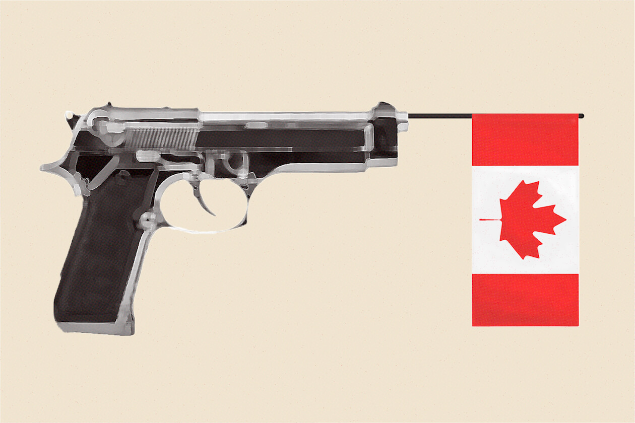 Illustration of a Toy Gun Containing a Canadian Flag