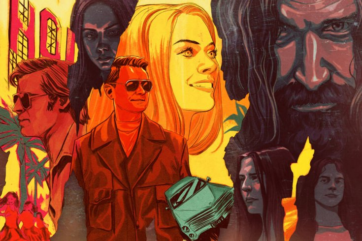 A collage of characters from Quentin Tarantino's Once Upon a Time in Hollywood.