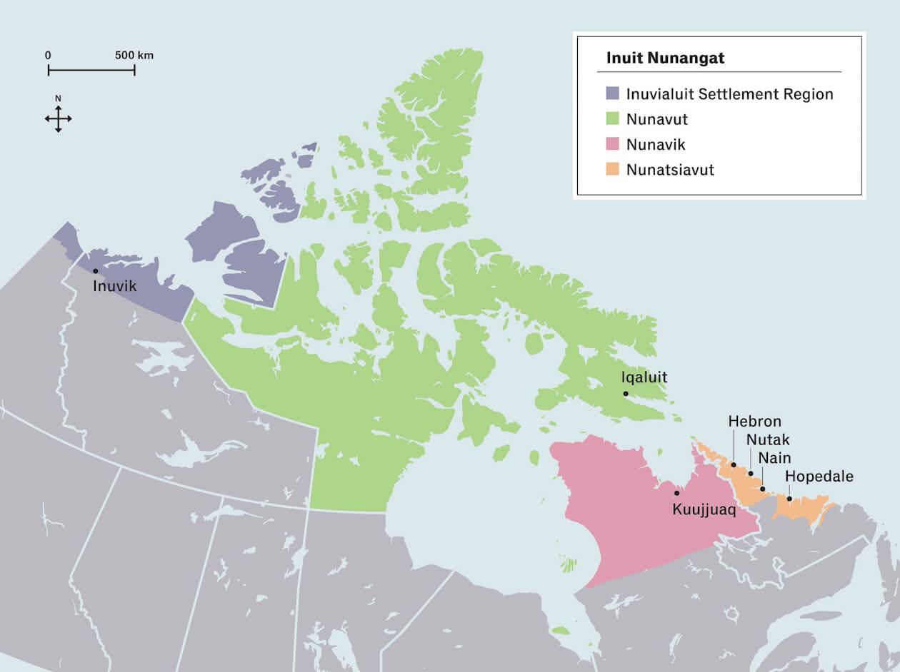Map of Iqaluit, Inuvik, Kuujjuaq, Hopedale, Nain, Nutak, and Hebron regions