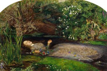 Ophelia drowning in pond, somewhere in denmark