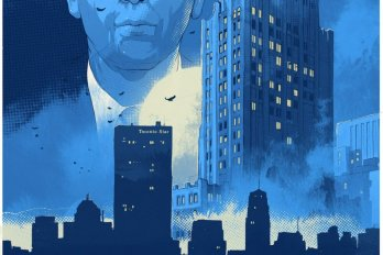 Illustration of a Man's Face above a City