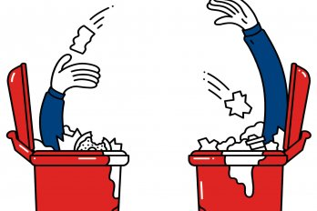 Illustration of Two Men in Trash Cans Throwing Trash at Each Other