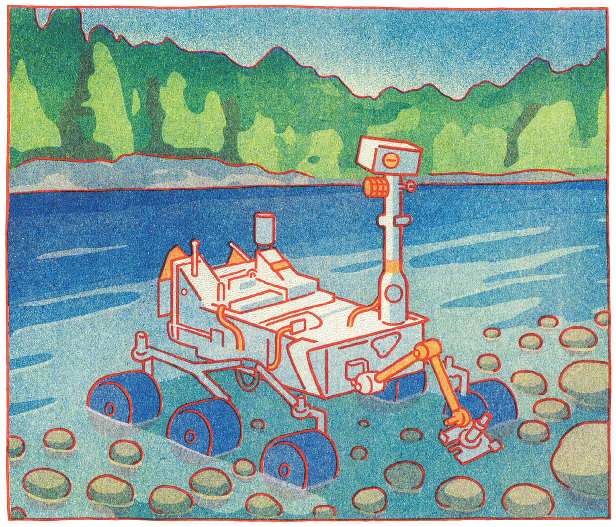 A land rover searches through rocks in a lake.