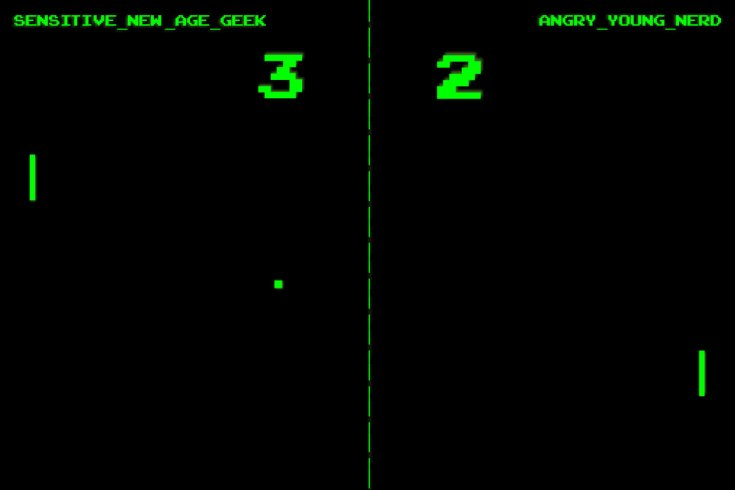 """Illustration of a Pong Game Between """"New Age Geek"""" and """"Angry Young Nerd"""""""