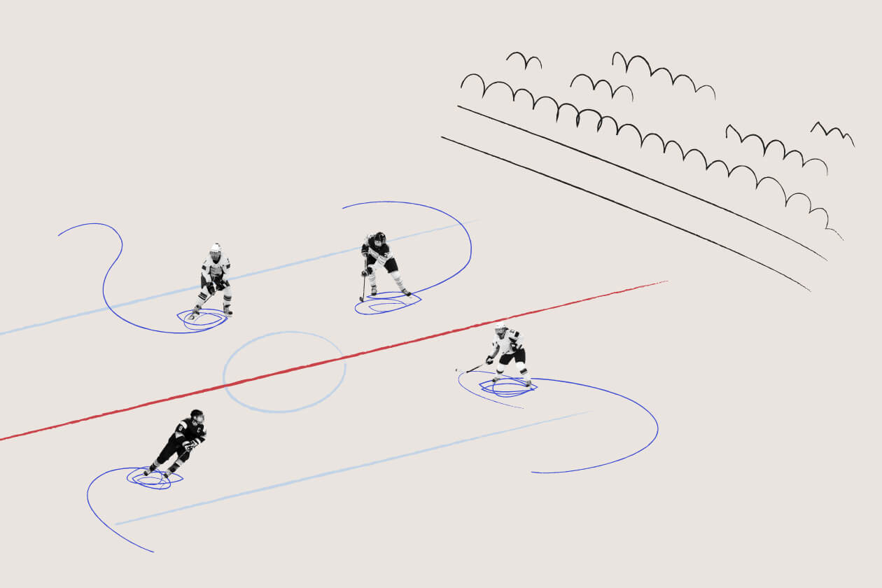 Illustration of a Women's Hockey Team on the Ice
