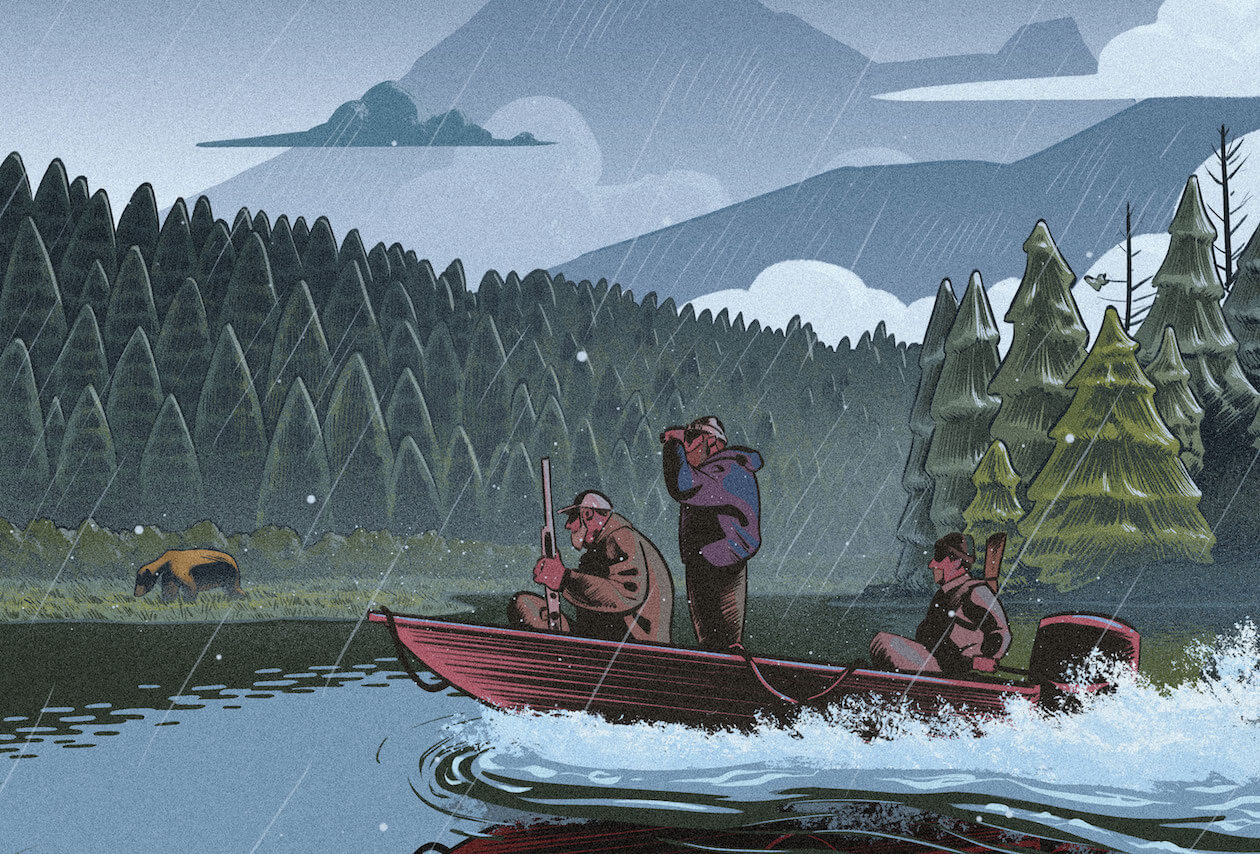 Illustration of Hunters Following a Bear