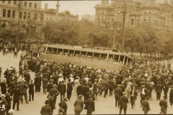 Strikers overturn a streetcar in Winnipeg, June 21, 1919.