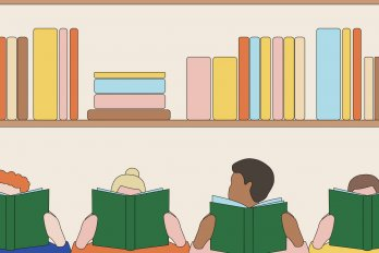 Illustration of four people sitting in a row and reading books. The three white readers stare into their books. The brown reader looks up away from the book. Behind them is a shelf full of other books.