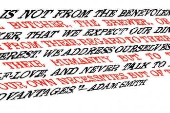 Words written in a dynamic typeface