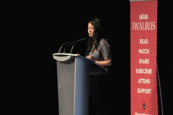 Video still of Ginger Gosnell-Myers from The Walrus Talks Aboriginal City