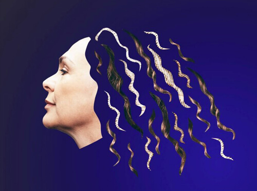 women with hair that look like strands of text