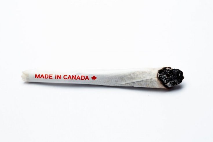 Cannabis joint with a made in canada label on it