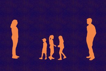 A family silhouetted in orange against a dark purple background. A woman stands at the far left of the frame, and a man at the far right. In between them are three young children standing in close proximity.
