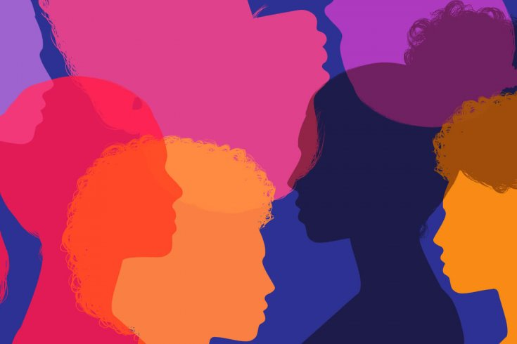 Bright silhouettes overlaid on top of each other.