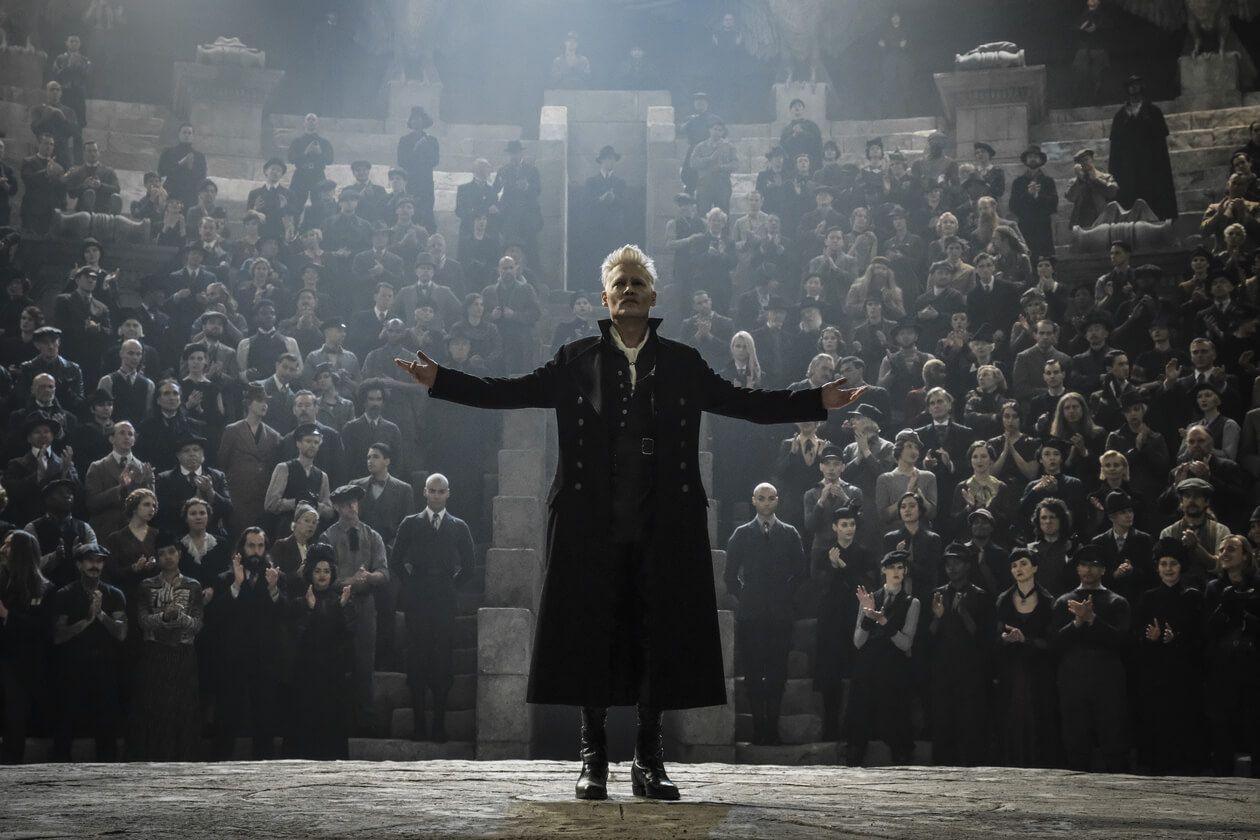 Johnny Depp as the dark wizard Gellert Grindelwald.