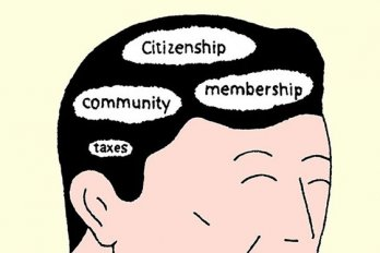 "Cartoon of a man's head with ""citizenship,"" ""community,"" ""membership,"" and ""taxes"" written in his brain"