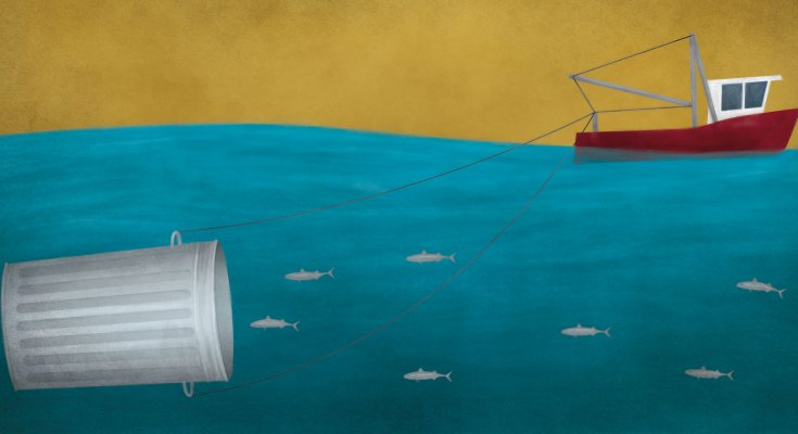 Illustration of fish swimming into garbage can