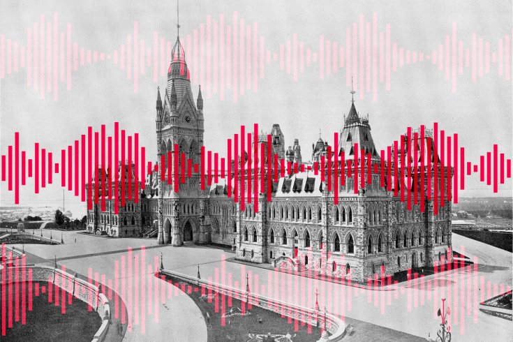 old canada parliament building and soundwaves