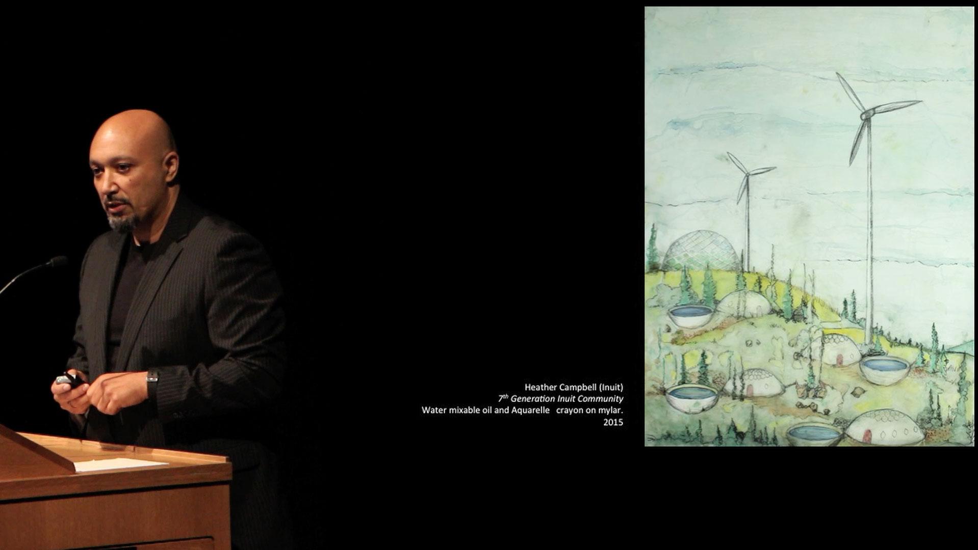 Video still of Jason Edward Lewis from the Walrus Talks Play