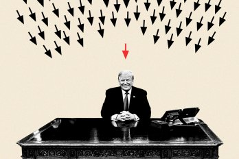 An illustration of Donald Trump sitting at a desk with arrows pointing at him.