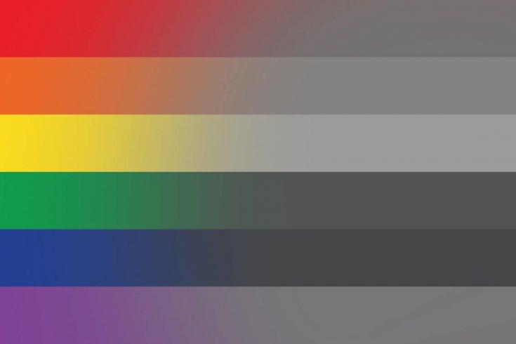 LGBT Flag fading into colourless shades