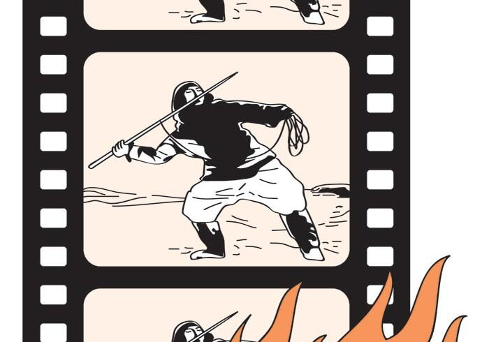 Illustration of a film roll with a man holding a sword, with a fire flame at the bottom