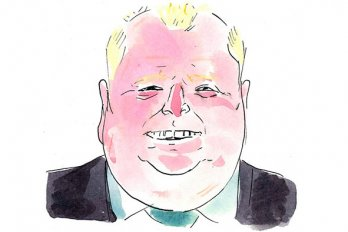 A drawing of Rob Ford smiling