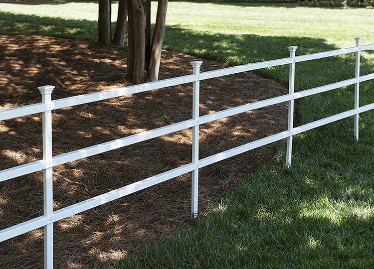 Westchester Semi Permanent Vinyl Fence Ranch Rail Fence Kit
