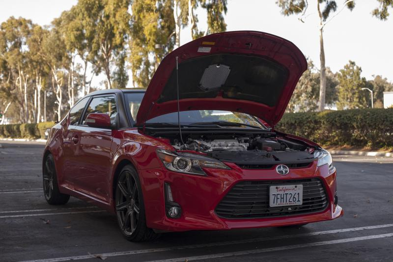 "The Scion FR-S with its hood open (Amou ""Joe"" Seto/Neon Tommy)"