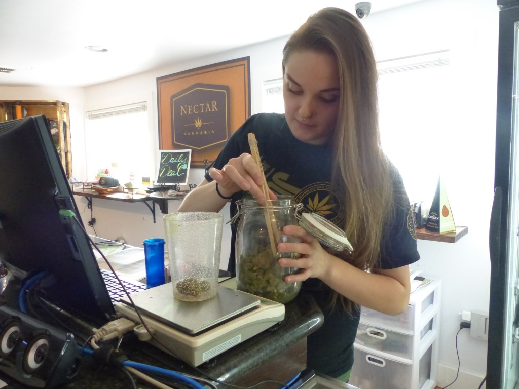 Chelsea Myers, a Nectar budtender, weighs out flower for a medical user. / Lisa Dunn