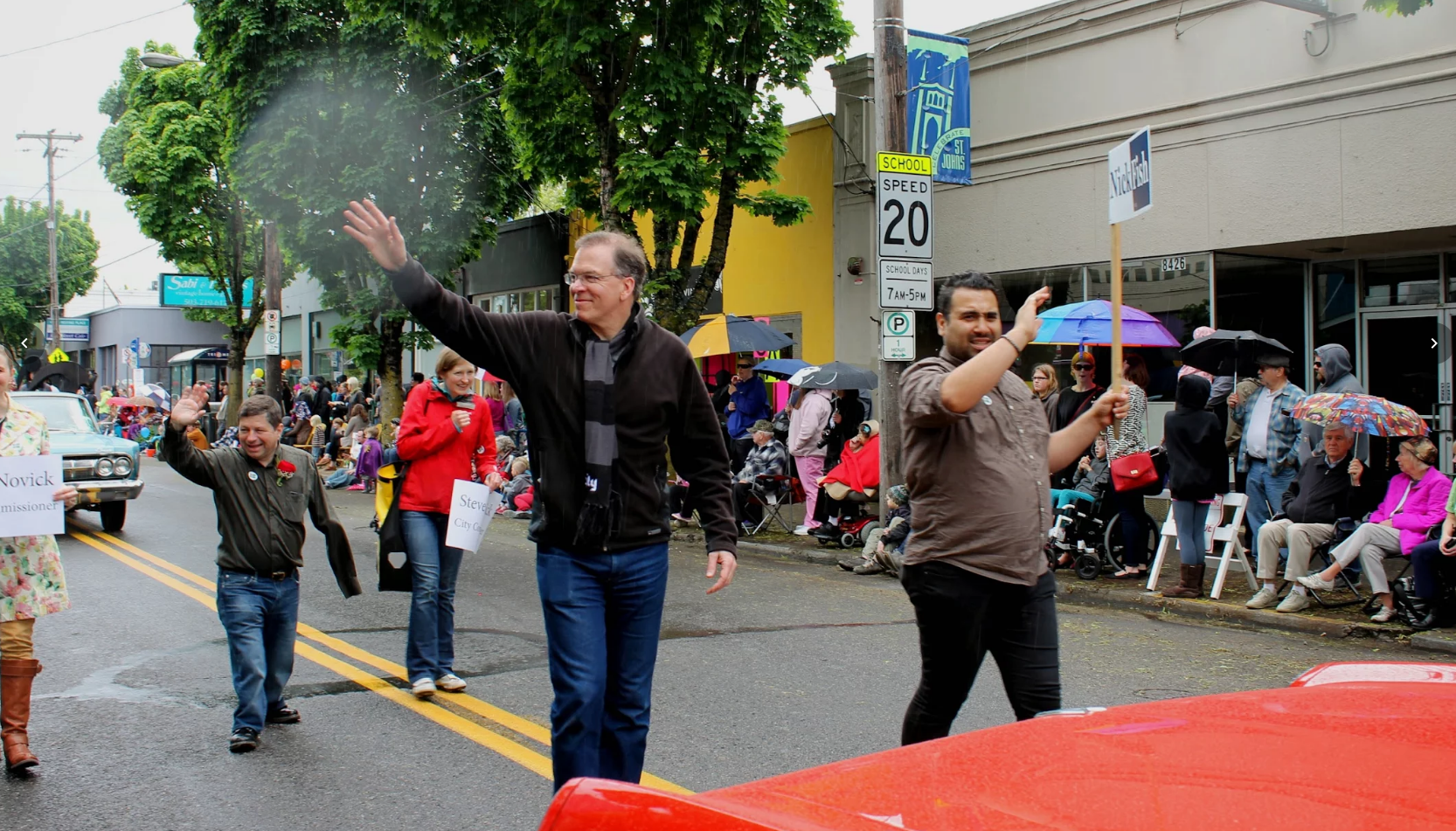 City Commissioner Nick Fish (center left) in the St. Johns Parade. (Courtesy of Multnomah County)
