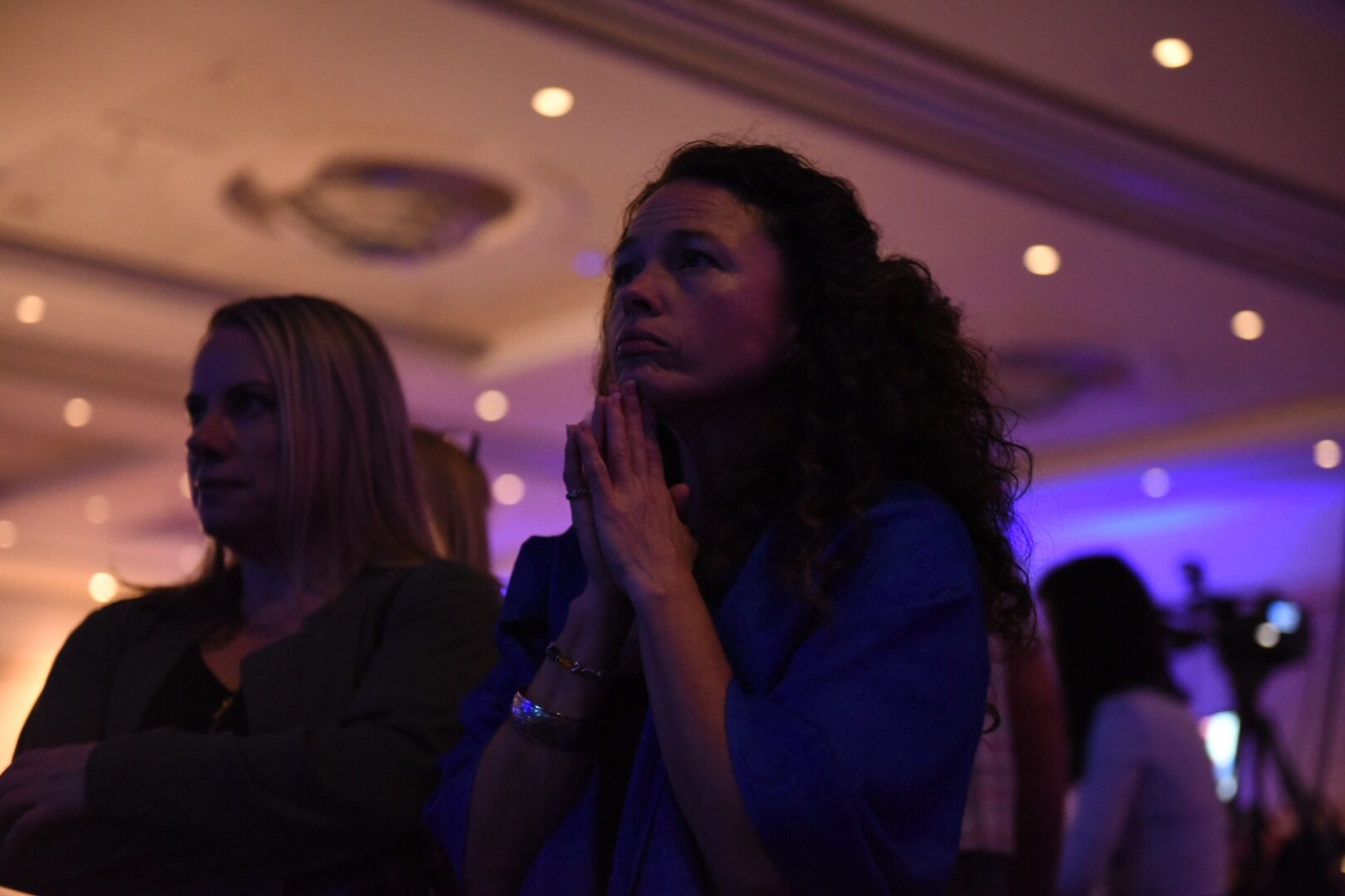 Democrats watch the election results at the Oregon Convention Center. (Joe Riedl)