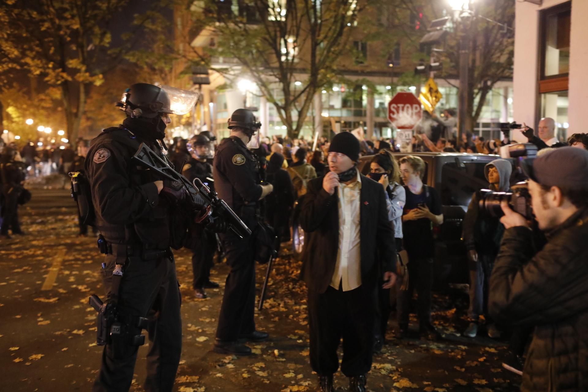 Anti-Trump protest on Nov. 10, 2016. (Christopher Onstott)