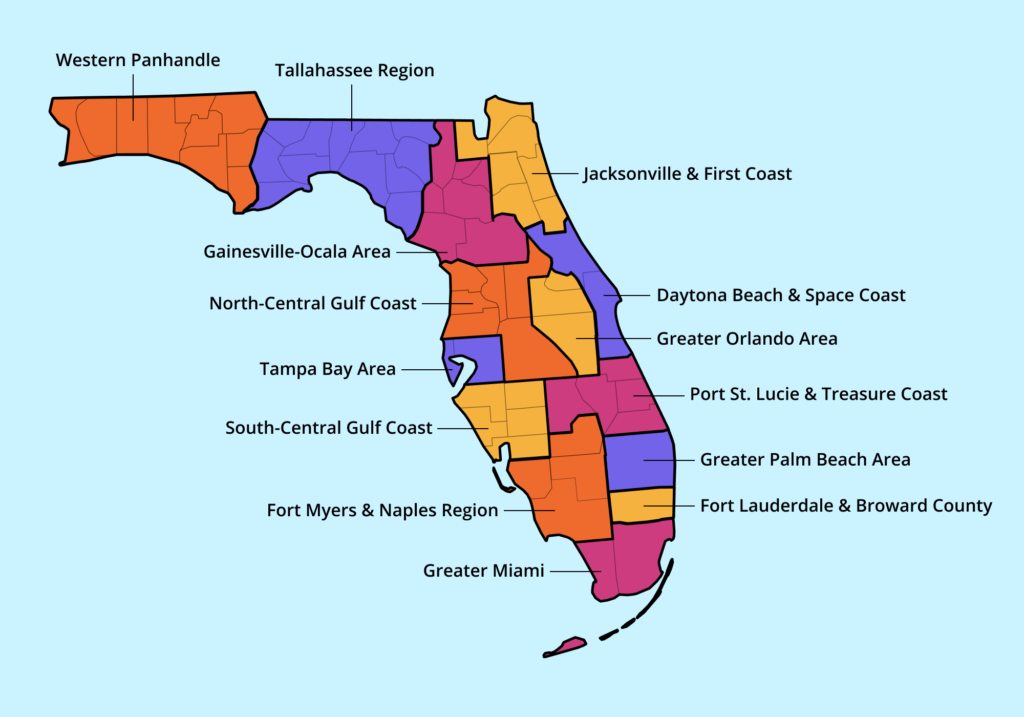 An illustrated map of Florida, with regions delineated and labeled.