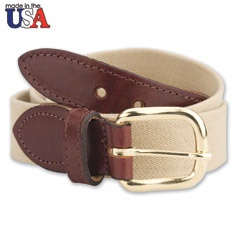 Cotton Stretch Belt with Sized Leather Tab