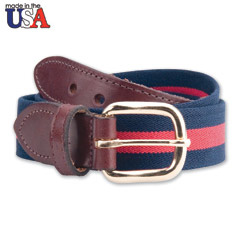 Cotton Stretch Belt with Brown Sized Leather Tab