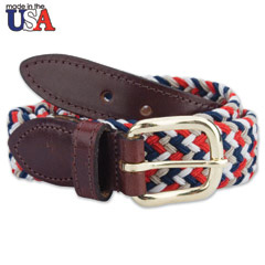 Multi-Colored Stretch Braided Belt With Brown Sized Leather