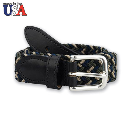 Multi Color Stretch Braided Belt with Black Sized Leather