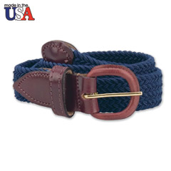 In-Between Adjustable Sizing Braided Stretch Belt with Leather Tab