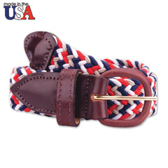 Multi Color Stretch Braided Belt with Brown Leather Tab