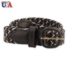 Multi-Colored Stretch Braided Belt With Black Leather Tab
