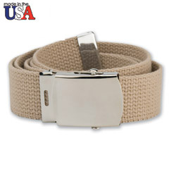 Cotton Web Belt with Silver Plated Buckle