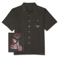 Polly Wants To Ride Embroidered Silk Shirt
